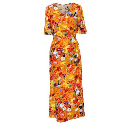 Wrap Dresses Flower Patterns Tropical Patterns Casual Style