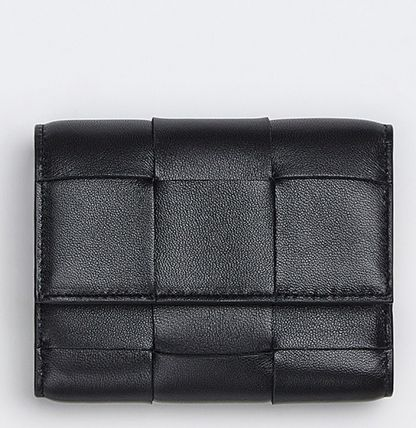 BOTTEGA VENETA Calfskin Lambskin Plain Leather Folding Wallets