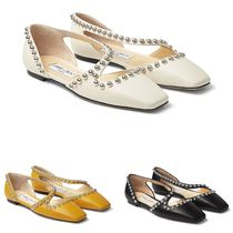 Jimmy Choo Square Toe Casual Style Studded Leather Handmade Party Style