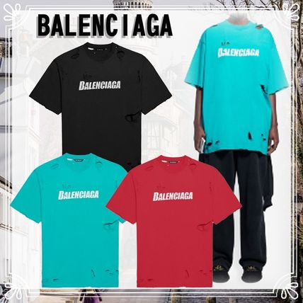 BALENCIAGA Caps Destroyed Flatground T-Shirt