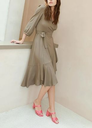 Wrap Dresses Casual Style Flared V-Neck Cropped Plain Medium