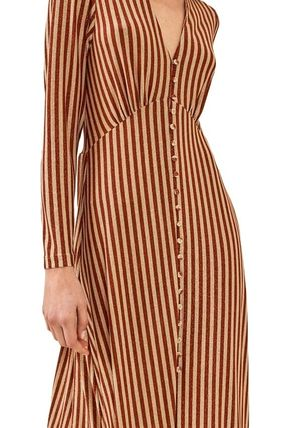 Stripes Casual Style Flared V-Neck Long Sleeves Medium