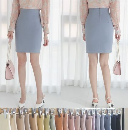 Pencil Skirts Short Plain Office Style Formal Style  Skirts