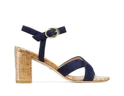 Suede Leather Heeled Sandals