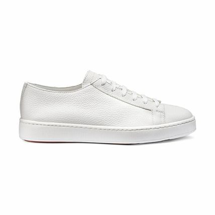 Unisex Plain Leather Logo Sneakers