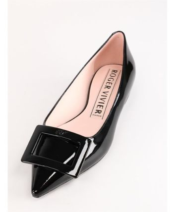 Roger Vivier Enamel Leather Elegant Style Pointed Toe Shoes