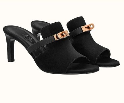 HERMES Mules Formal Style  Open Toe Suede Plain Leather Pin Heels