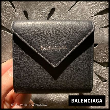 BALENCIAGA PAPIER A4 Folding Wallet Logo Unisex Plain Leather Folding Wallets