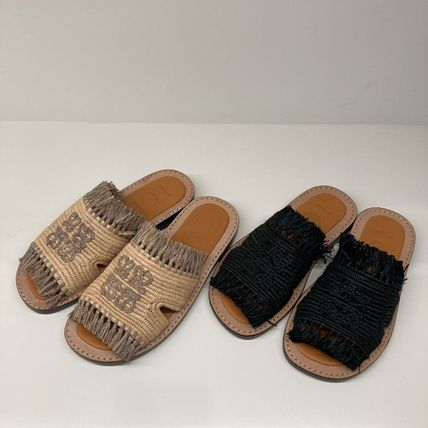 LOEWE Casual Style Unisex Blended Fabrics Leather Slippers Mules