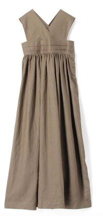 Casual Style Maxi Linen Sleeveless Plain Long Party Style