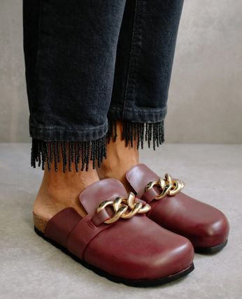 Platform Casual Style Plain Leather Party Style