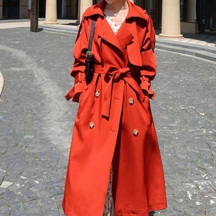 Stand Collar Coats Casual Style Plain Long Elegant Style