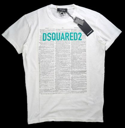 D SQUARED2 Crew Neck Pullovers Cotton Short Sleeves Logo Luxury