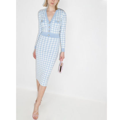 Gingham Party Style Office Style Formal Style  Cardigans