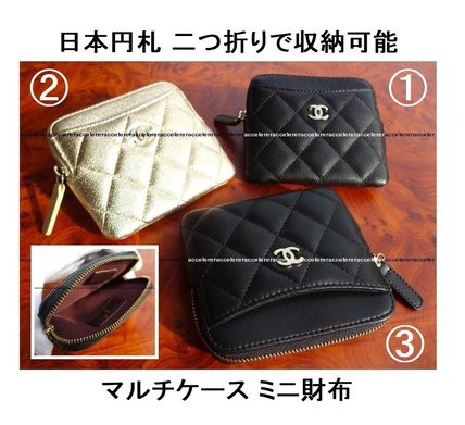 CHANEL ICON Unisex Lambskin Leather Long Wallet  Money Clip Coin Cases