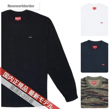 Supreme Long Sleeve Crew Neck Pullovers Unisex Street Style Long Sleeves Cotton