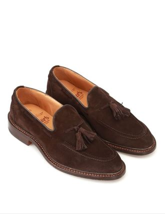 Loafers Suede Blended Fabrics Tassel Street Style Plain