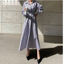 MONICA ROOM Dresses Stripes Casual Style Long Sleeves Cotton Long Party Style 7