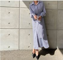 MONICA ROOM Dresses Stripes Casual Style Long Sleeves Cotton Long Party Style 11