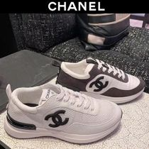 CHANEL Casual Style Blended Fabrics Logo Low-Top Sneakers