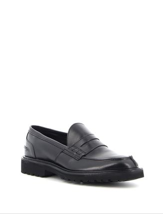 Moccasin Loafers Blended Fabrics Street Style Plain Leather