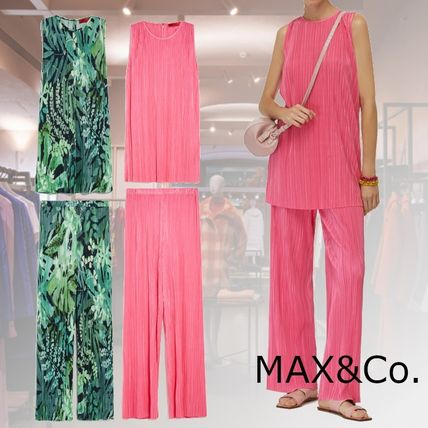 Max&Co. Crew Neck Tropical Patterns Casual Style Sleeveless Plain