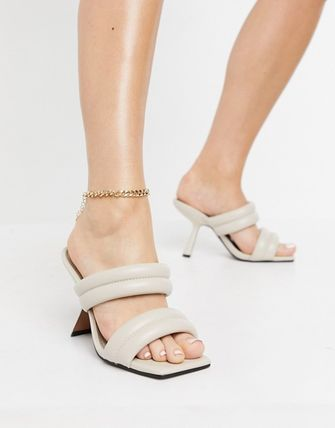 ASOS Mules Casual Style Faux Fur Plain Party Style Heeled Sandals