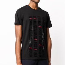 MONCLER Crew Neck Unisex Cotton Short Sleeves Logos on the Sleeves