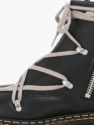 RICK OWENS Round Toe Rubber Sole Lace-up Collaboration Leather