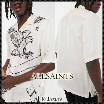 ALLSAINTS Shirts Unisex Street Style Short Sleeves Logo Front Button Shirts