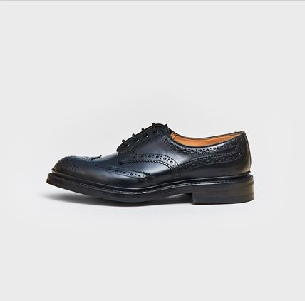 Wing Tip Blended Fabrics Street Style Plain Leather Handmade