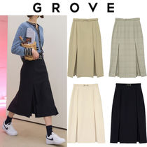 GROVE Casual Style Office Style Elegant Style Formal Style  Skirts