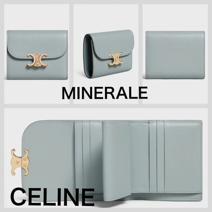 CELINE Triomphe Folding Wallet Bridal Logo Plain Leather Folding Wallets