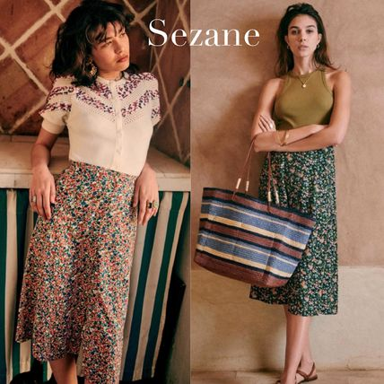 SEZANE Formal Style  Flared Skirts Flower Patterns Casual Style