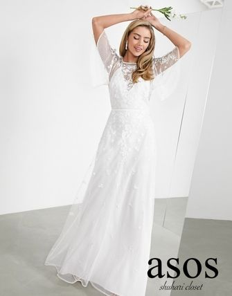 ASOS Bridal Sheer Crew Neck Flower Patterns Maxi Long