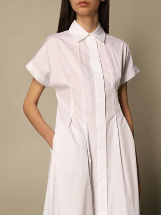 A-line Plain Cotton Long Short Sleeves Office Style
