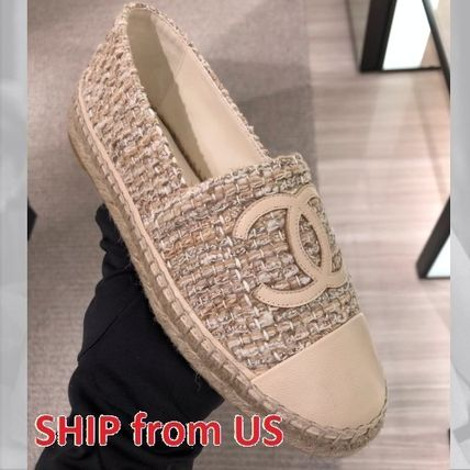 CHANEL ICON Plain Toe Round Toe Casual Style Tweed Plain Office Style