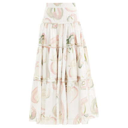 Flared Skirts Flower Patterns Casual Style Cotton Long