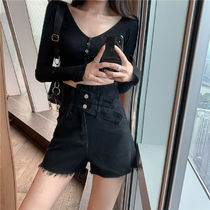 Short Casual Style Denim Street Style Leather