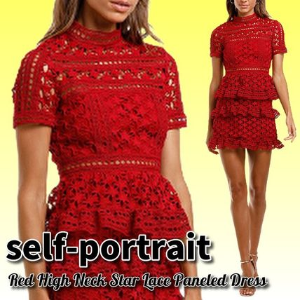 Short Star Short Sleeves Party Style High-Neck Lace