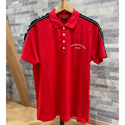 DIESEL Polos Pullovers Unisex Street Style Cotton Short Sleeves Logo