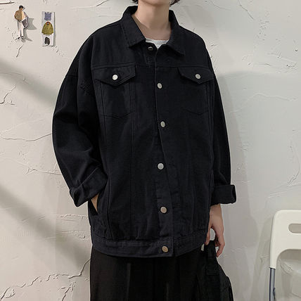 Denim Plain Long Street Style Oversized Jackets