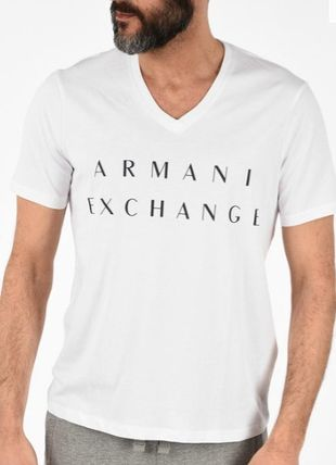 A/X Armani Exchange Logo V-Neck Cotton Short Sleeves Street Style