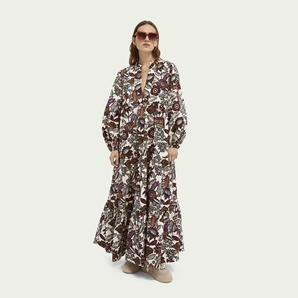 Flower Patterns Maxi A-line V-Neck Long Sleeves Cotton Long