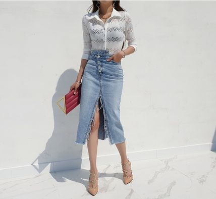 Pencil Skirts Flared Skirts Casual Style Denim Street Style