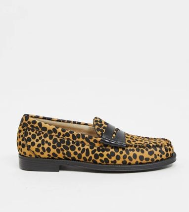 Leopard Patterns Moccasin Loafers Fur Blended Fabrics
