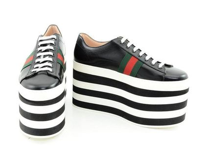 GUCCI Formal Style  Logo Platform Casual Style Plain Leather