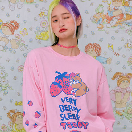 neon moon T-Shirts Crew Neck Street Style Long Sleeves Cotton Oversized 3
