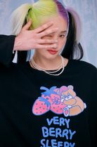 neon moon T-Shirts Crew Neck Street Style Long Sleeves Cotton Oversized 4
