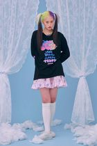 neon moon T-Shirts Crew Neck Street Style Long Sleeves Cotton Oversized 5